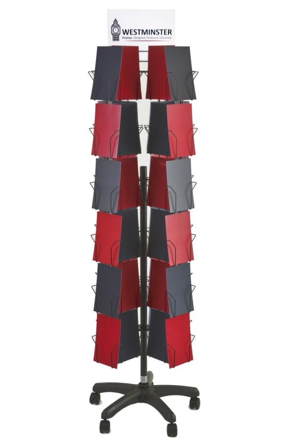 """Card Display Stand, Floor Spinner (6""""x6"""" - 72 Pockets)"""