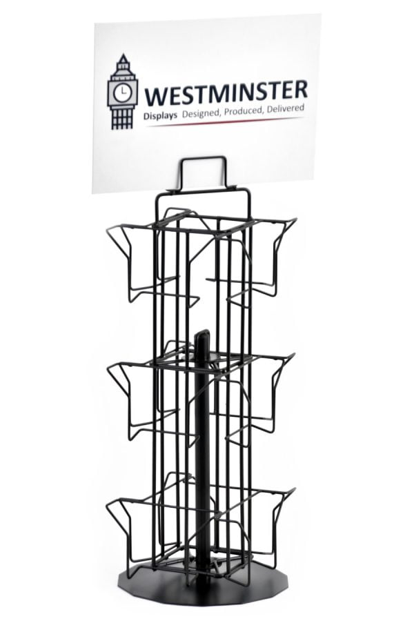 """Card Display Stand, Counter Spinner (5""""x5"""" - 12 Pockets)"""