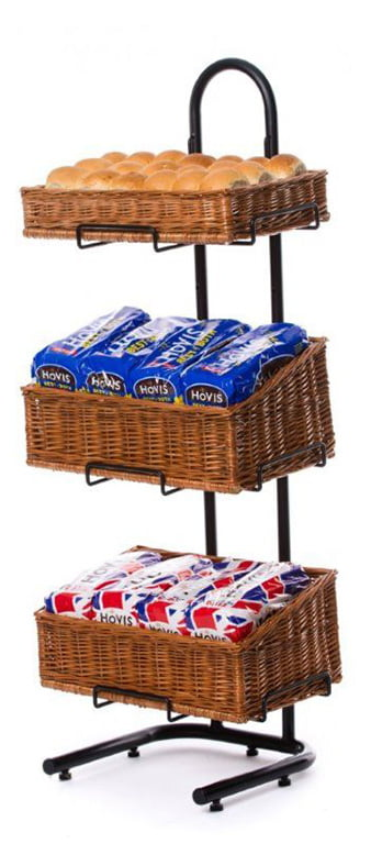 wicker basket display stand