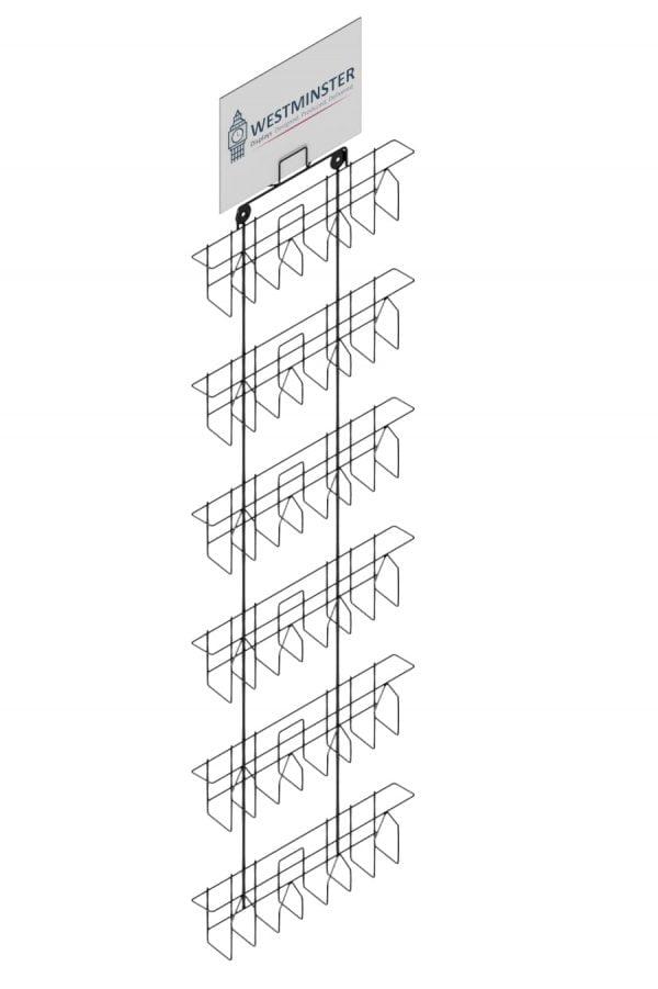 Adjustable wall mounted card display rack