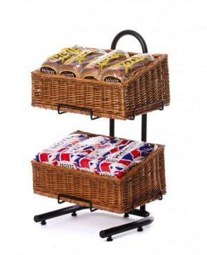 Wicker basket display rack