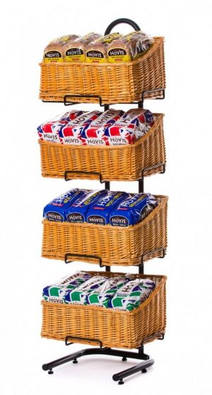 Wicker basket display stands