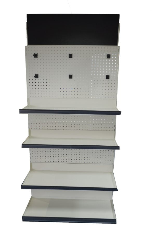 Metal shelving display stand
